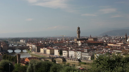 Italy. Florence. View of the city on top, midday sun