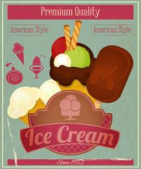 Ice Cream Vintage Card Menu