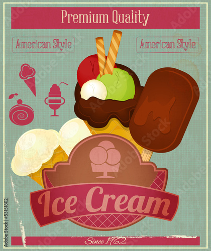 Ice Cream Vintage Card Menu
