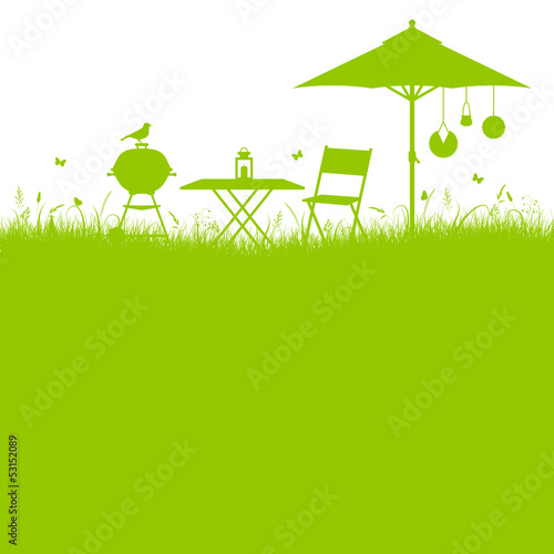 Barbecue Summer Garden Background Green