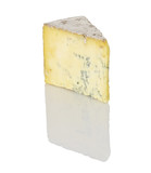 Stilton cheese cutout on white background