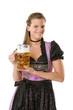 Frau in Tracht mit Bier