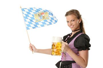 Frau mit Bier und bayern Flagge