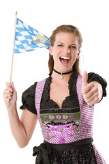 Frau mit bayern Flagge