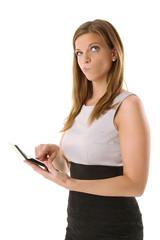 Frau mit Taschenrechner