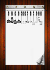 Blank Notebook with Kitchen Utensils