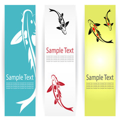 Vector image of an carp koi banners .