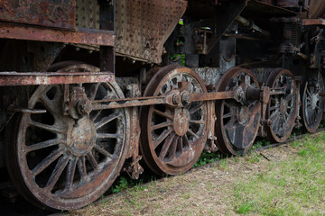 rusty steam locomotive wheels