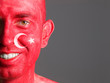 Face flag Turkey smiling man