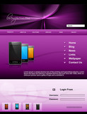 Mobile phone website template presentation bright colorful vecto
