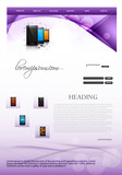 Website template presentation mobile phone colorful vector illus