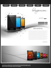 Website template presentation wave mobile phone colorful design