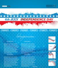 4th of july website template presentation blue colorful design v