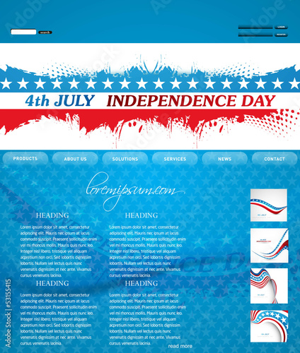 4th of july website template presentation blue colorful design v