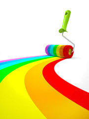 Rainbow paint roller isolated on white background