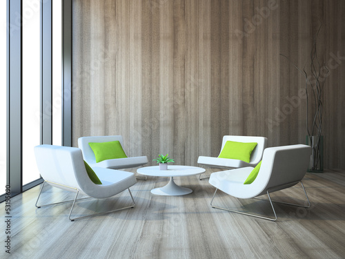 Modern interior with four armchairs and coffe table 3d rendering