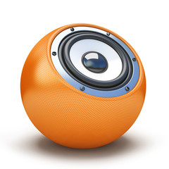 Orange sphere speaker