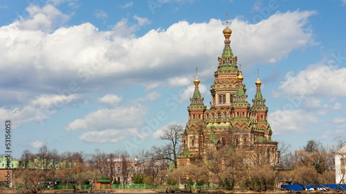 Russia, Petrodvorets. St. Peter and Paul Church. Time lapse