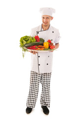 Cook with assortment fresh vegetables