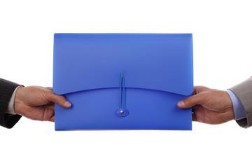 Handing over paperwork