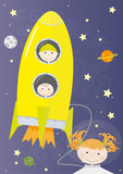 children , rocket and outer space poster