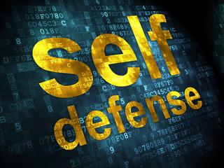 Safety concept: Self Defense on digital background