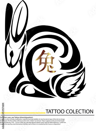 Isolated tattoo of black and gold rabbit