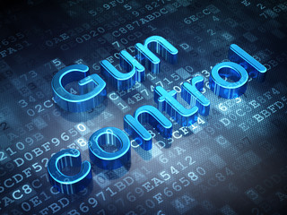 Security concept: Blue Gun Control on digital background