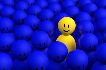 3d yellow man comes out from a blue crowd