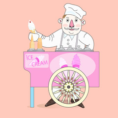 Ice cream vendor with cart.