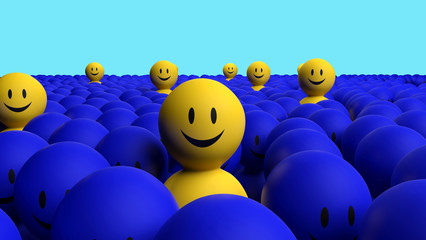 Some 3d yellow men come out from a blue crowd