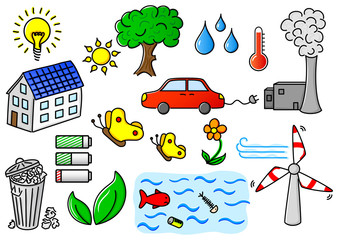 environmental pollution and green energy icon set