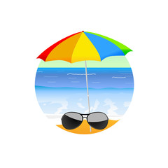 sunglass on the beach cartoon art vector