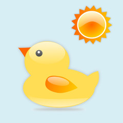 Rubber duck with sun
