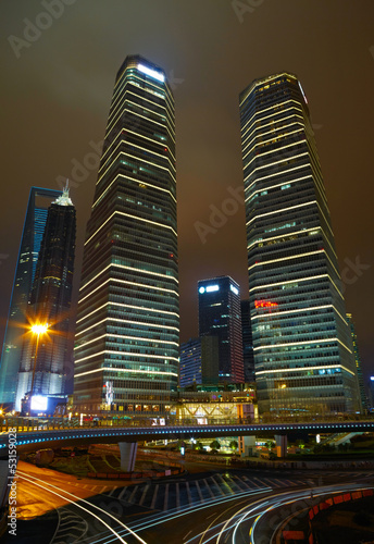 Shanghai lujiazui finance and trade zone skyline.