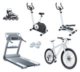 Fitnes sport - rollers bicycle stepper treadmill