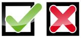 Keuz Haken Icons im Quadrat, Kästchen