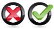 3D Keuz Haken Icons im Kreis