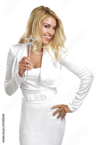 young beautiful woman holding a magic wand