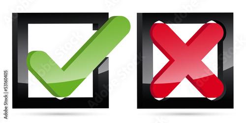 3D Keuz Haken Icons im Quadrat, Kästchen