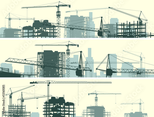 Horizontal banner of construction site with cranes and building. - 53161085