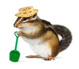 Funny chipmunk with straw hat and shovel