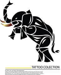 Thai Elephan,Ganesha Hand drawn illustration tattoo