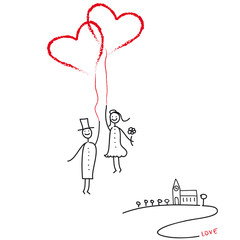 Hochzeitspaar mit Luftballon - Herzen und Kirche