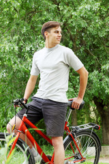 bicyclist in a summer park