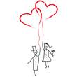Hochzeitspaar mit Luftballon - Herzen