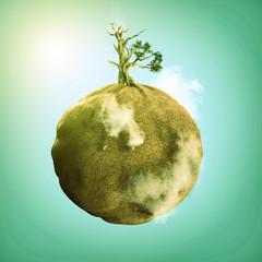 Mundo con árbol seco