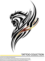 Vector image tattoo of an horse , illustration - vector