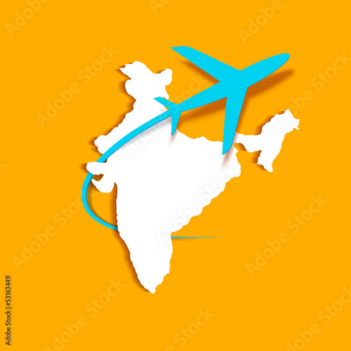Airplane around Indian Map