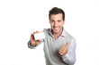 Handsome smiling man showing card with thumb up